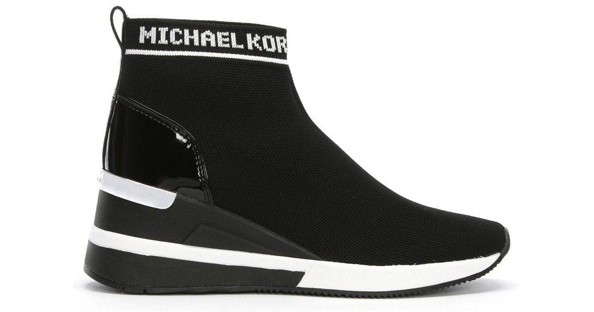 Michael Kors Skyler Black Sock Wedge Booties In Black Lyst