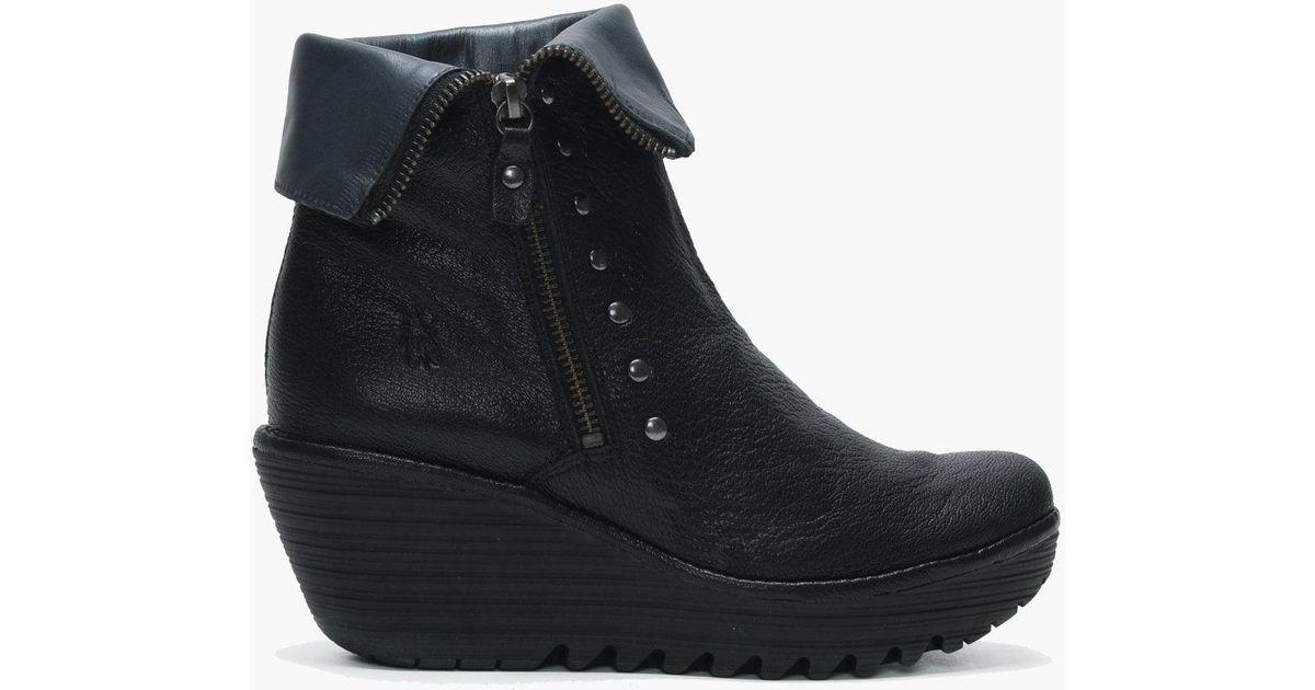9960025896b Fly London Yemi Black   Graphite Leather Mid Wedge Ankle Boots in Black -  Lyst