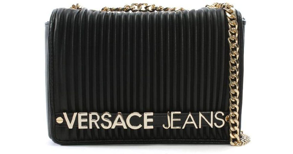 Lyst - Versace Jeans Logo Black Quilted Shoulder Bag in Black 407fd56338da8