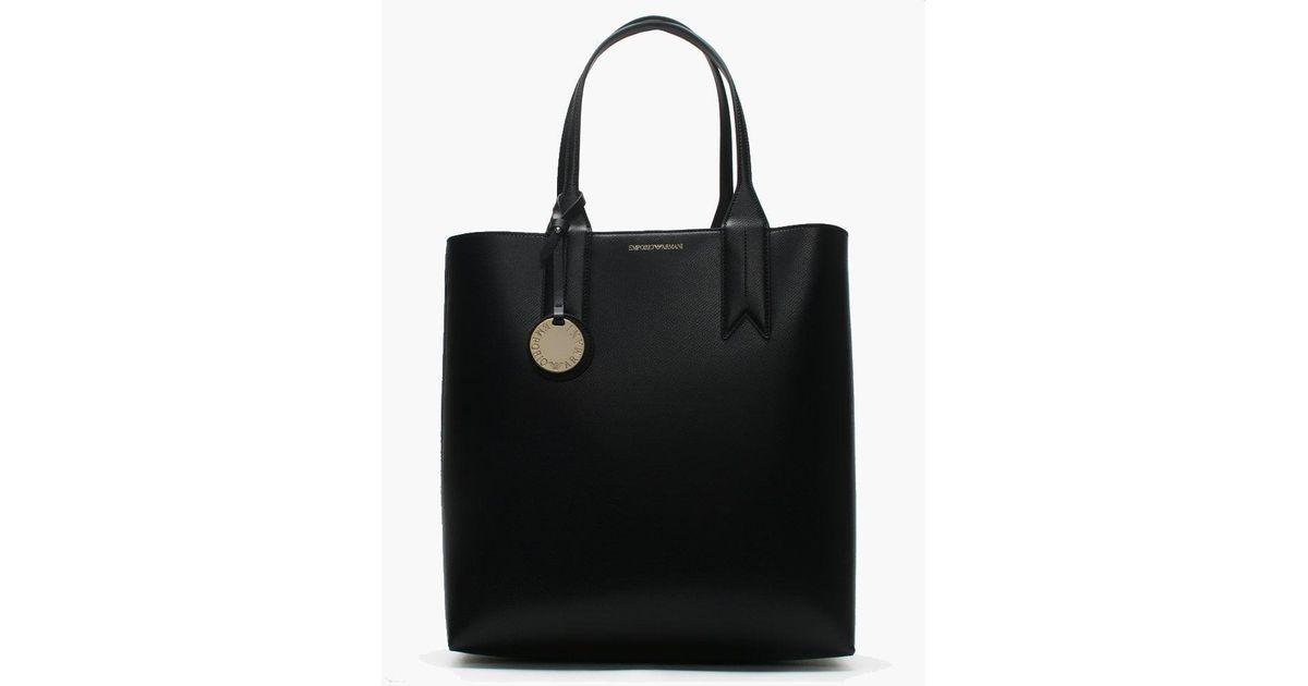 c32af6682989 Lyst - Emporio Armani Frida Tall Black Textured Shopper Bag in Black