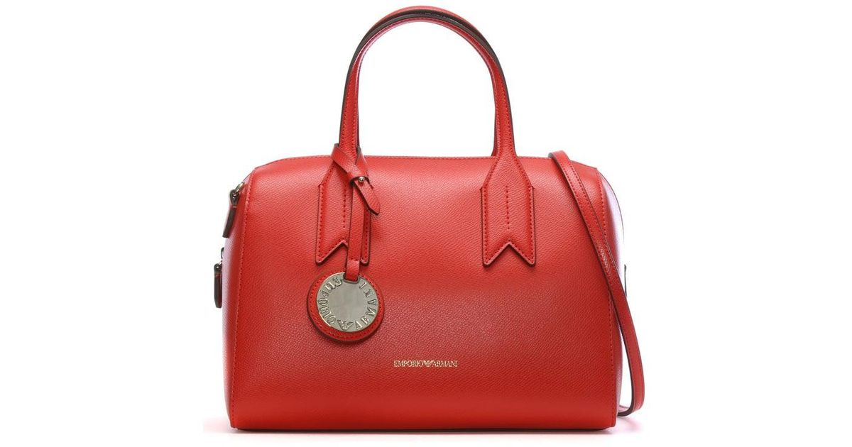8e4c985b64 Lyst - Emporio Armani Frida Red Textured Top Handle Bowling Bag in Red