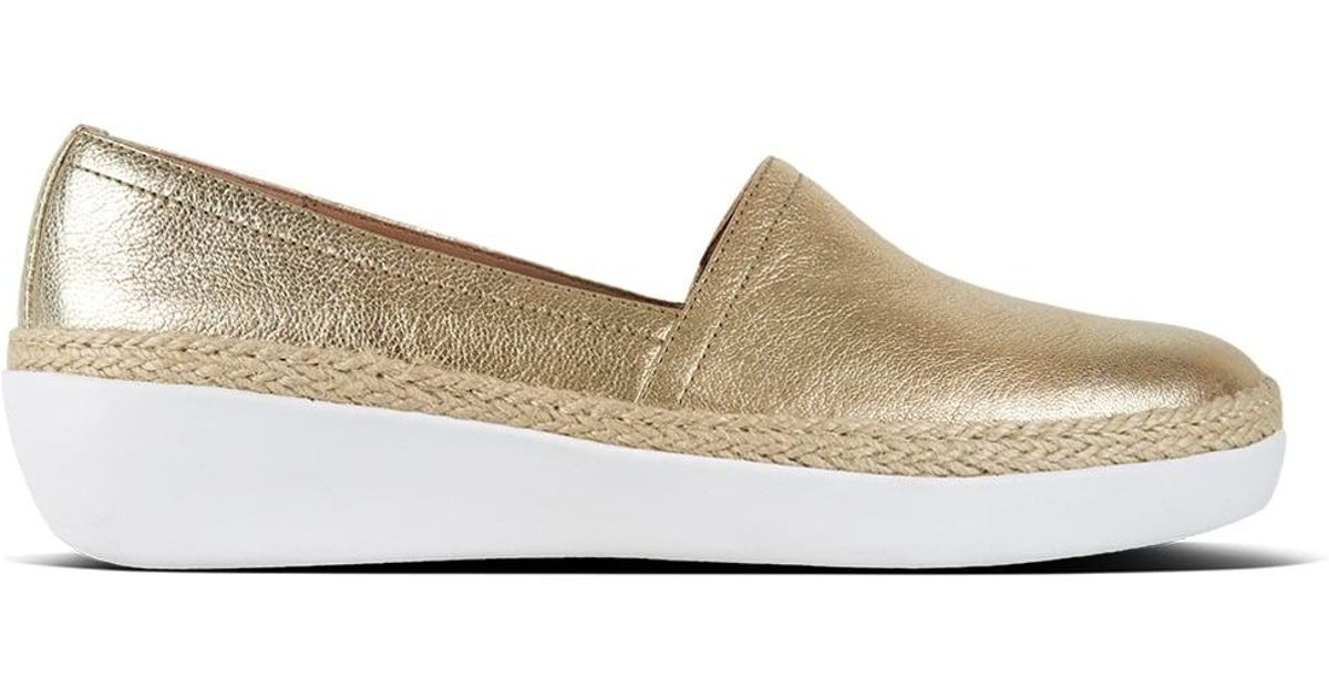 538ccf3f011c Lyst - Fitflop Casa Gold Leather Jute Trim Loafers in Metallic