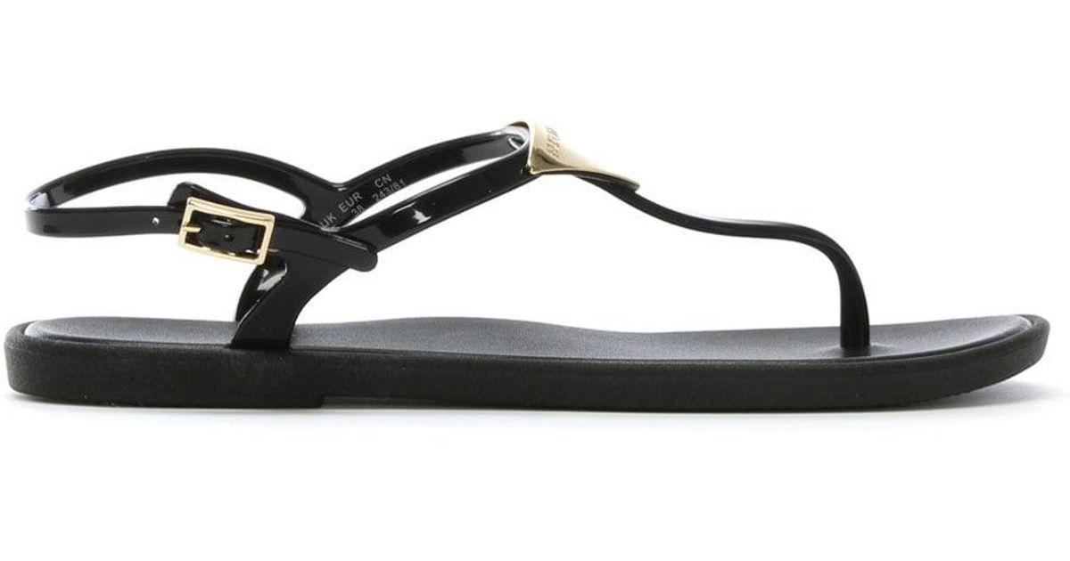 5fb04bd41 Lyst - Emporio Armani Black Jelly Toe Post Sandals in Black - Save 34%