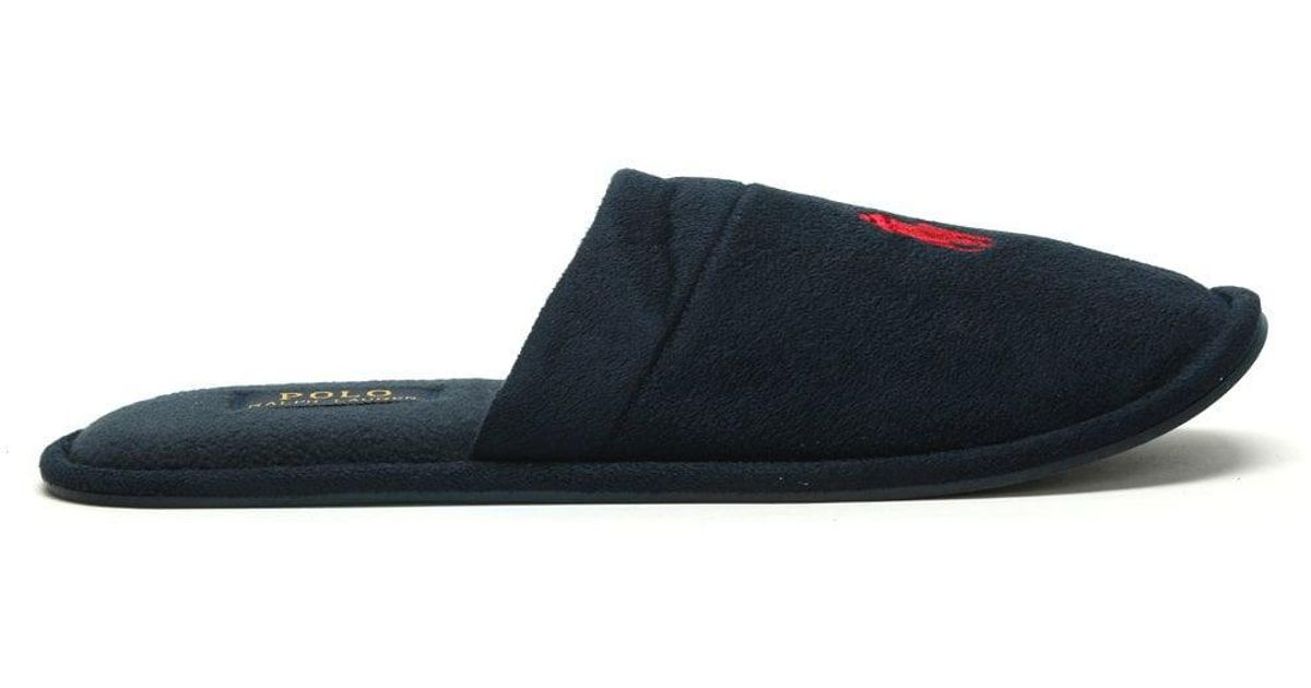 e349271a5 Lyst - Polo Ralph Lauren Men s Sunday Scuff Navy Slippers in Blue for Men
