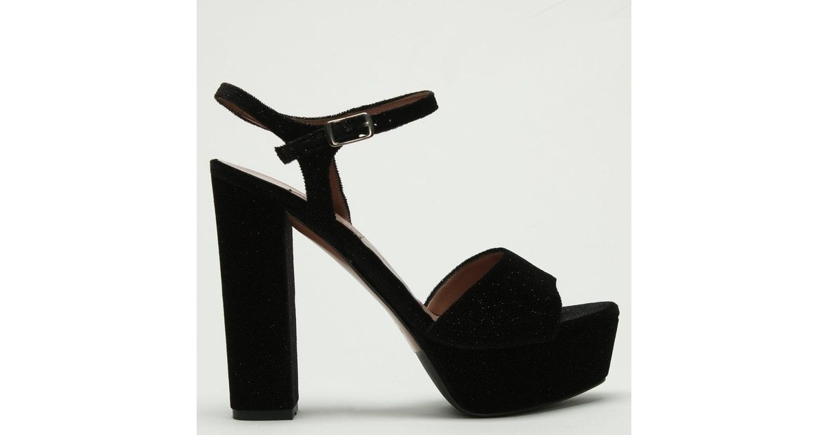 9da2d6c9a18 Albano - Hawkes Black Sparkly Velvet Platform Sandals - Lyst