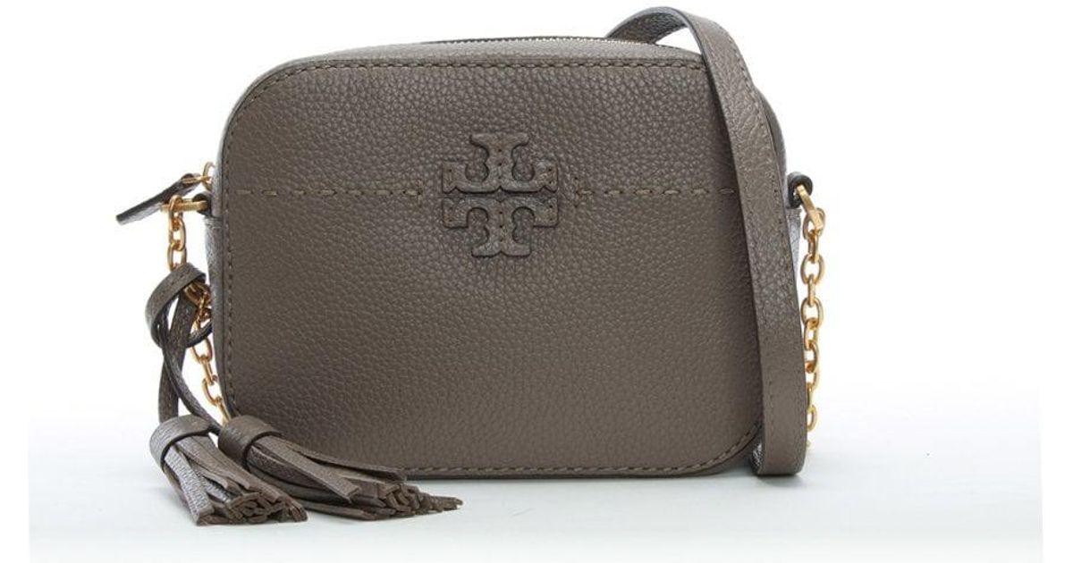 c63025732281f Lyst - Tory Burch Mcgraw Silver Maple Leather Camera Bag