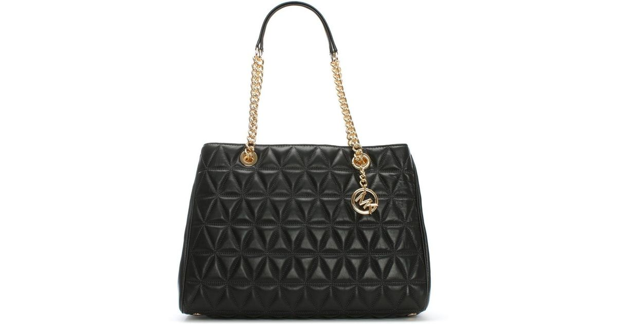 a951ec7b99f1 Lyst Michael Kors Scarlett Large Quilted Black Leather Tote Bag In
