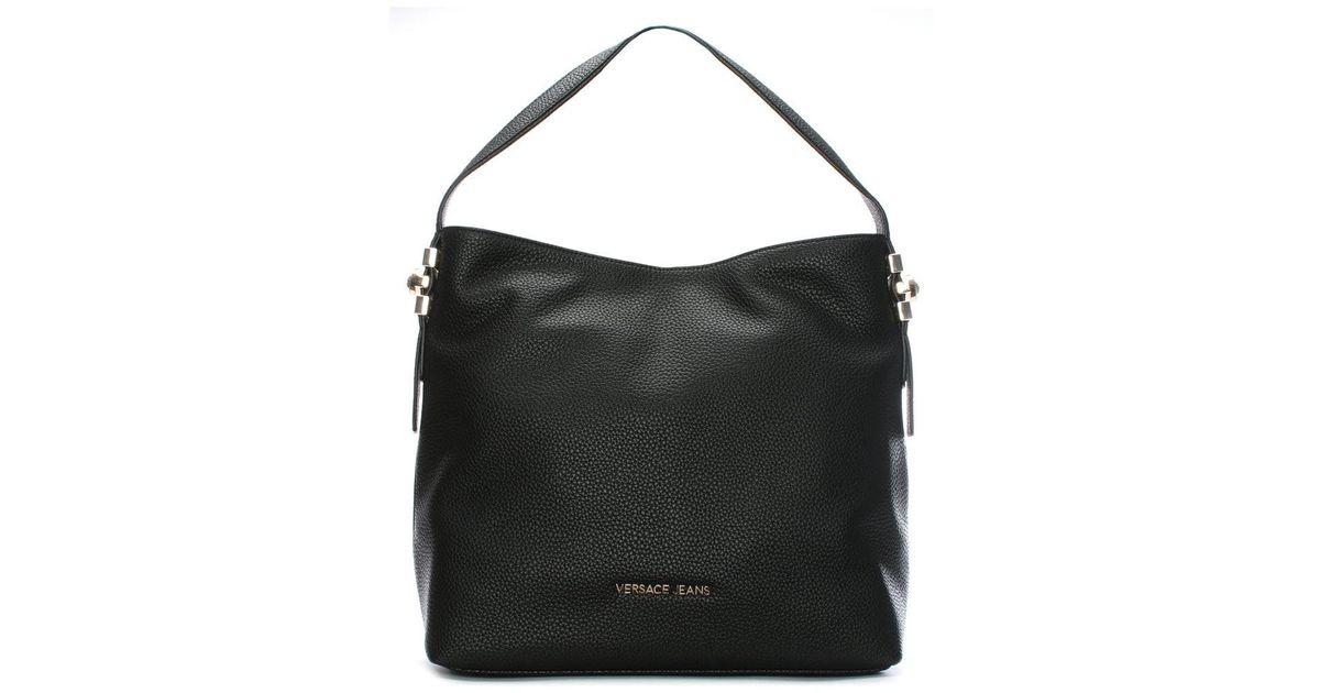 Lyst - Versace Jeans Becky Black Pebbled Hobo Bag in Black 9e56704493