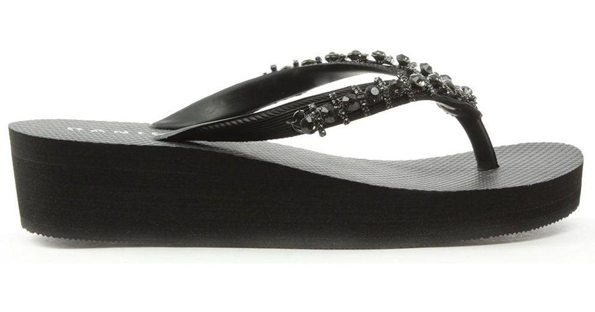 8dc04ff08 Daniel Crystal Toe Post Black Wedge Flip Flop in Black - Lyst