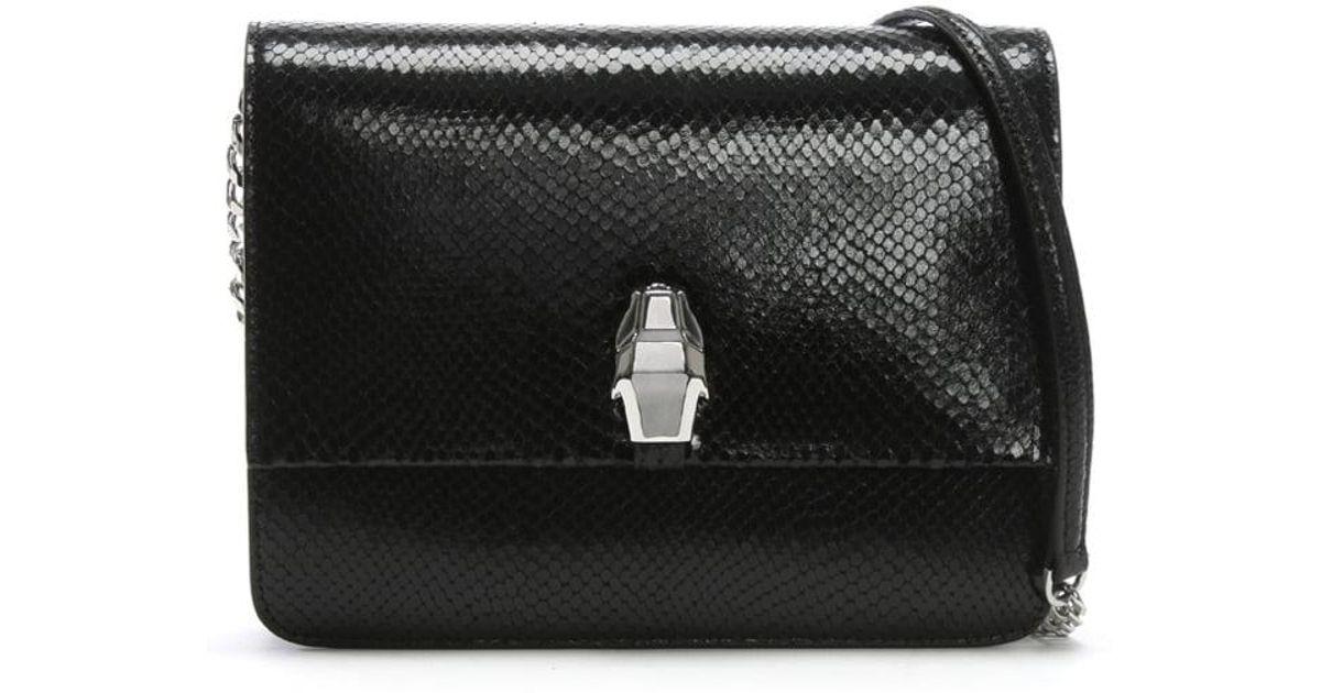 1b92cfcf311 Lyst - Class Roberto Cavalli Milano Black Leather Reptile Box Clutch Bag in  Black
