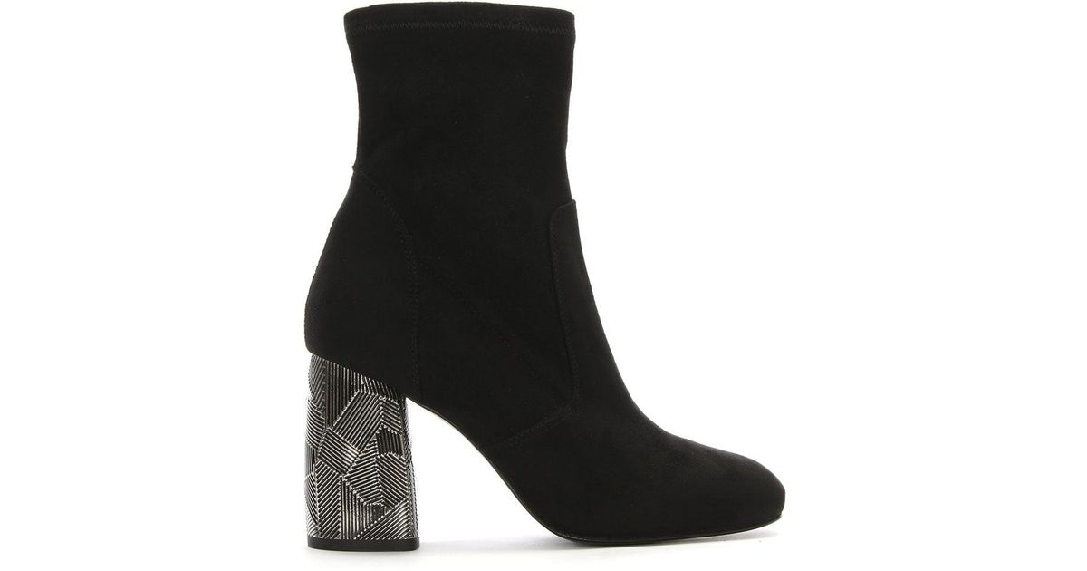 adaaa9517e07 Lyst - Daniel Grouper Black Suede Metal Block Heel Ankle Boots in Black