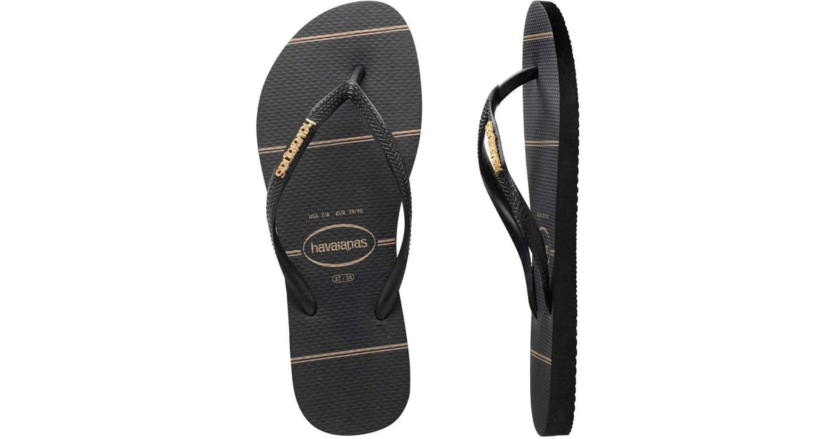 1fc71eae1b68fc Havaianas Slim Metal Logo Gold Lines Black gold in Black for Men - Lyst
