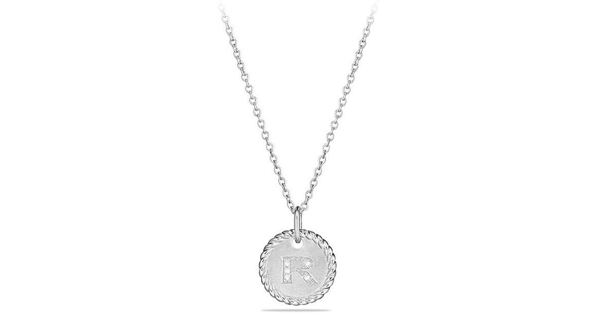 Lyst david yurman initial charm necklace with diamonds in 18k lyst david yurman initial charm necklace with diamonds in 18k white gold in metallic aloadofball Images