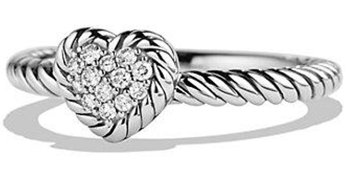 57ba98a6167cb1 David Yurman Petite Pave Heart Ring With Diamonds in Metallic - Lyst