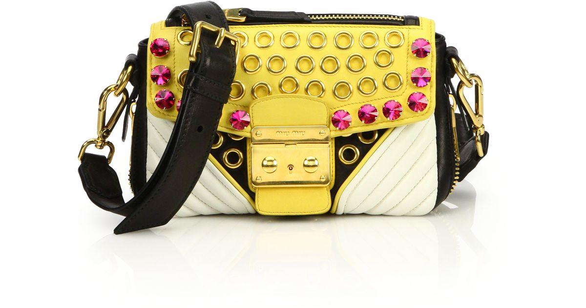 22a8a513a54 Lyst - Miu Miu Biker Crystal Shoulder Bag in Yellow
