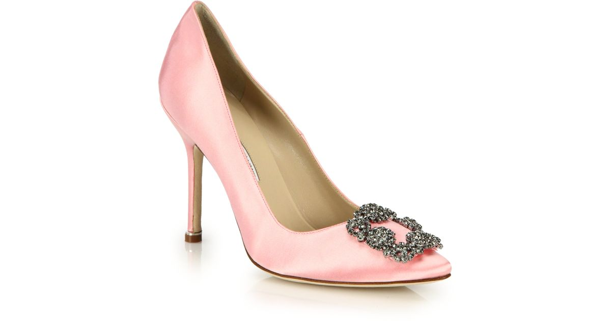 manolo blahnik hangisi 105 satin court shoes in pink lyst