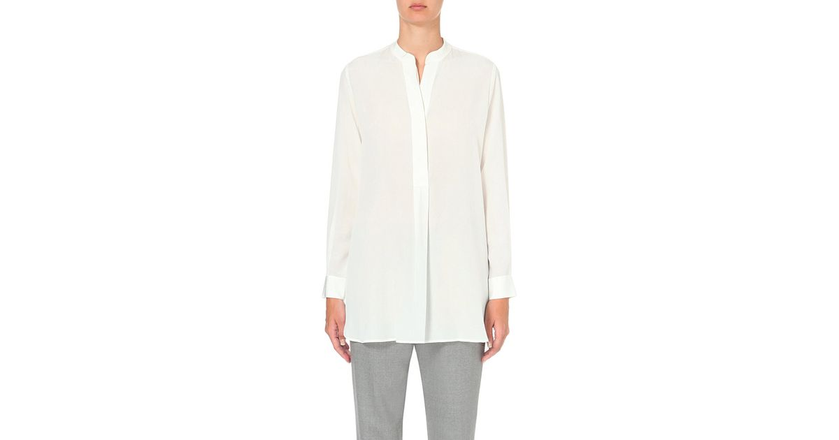 16aad23f2fc10b JOSEPH Dara Band-collar Silk Shirt in White - Lyst