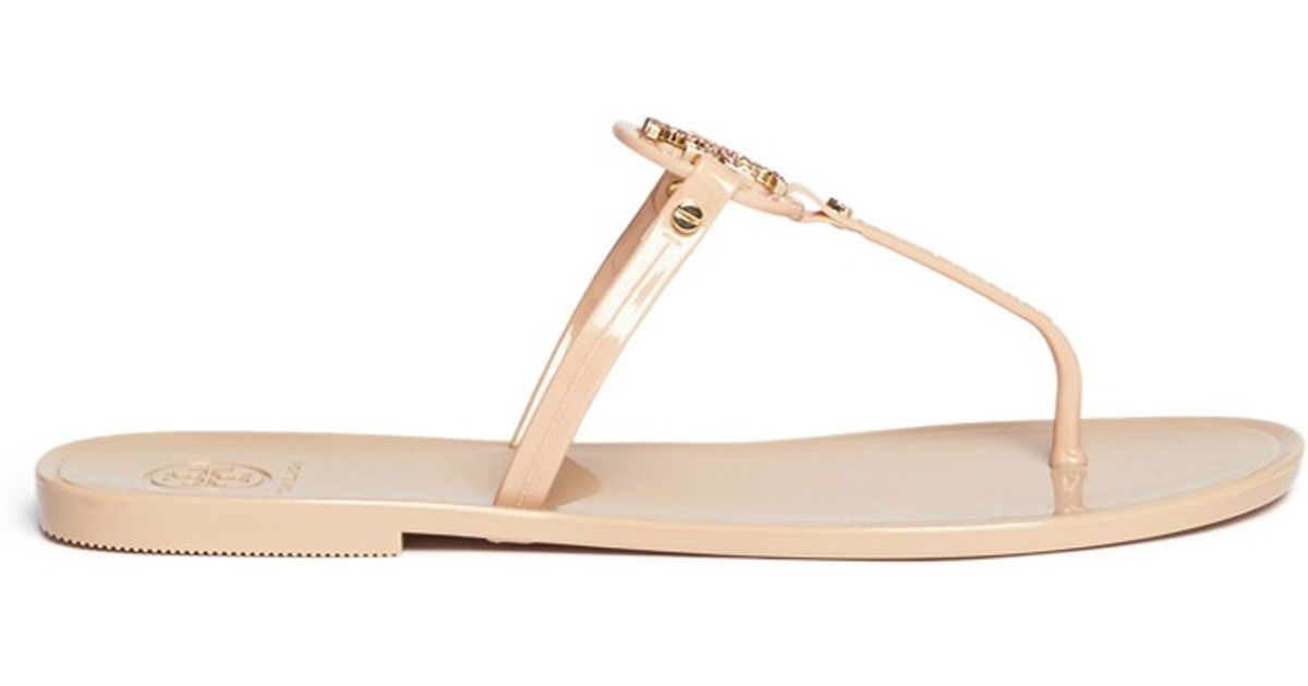 be4f6b1edf3 5c8b0 2915b  australia lyst tory burch mini miller crystal logo jelly thong  sandals in natural 9a7e4 61e7f