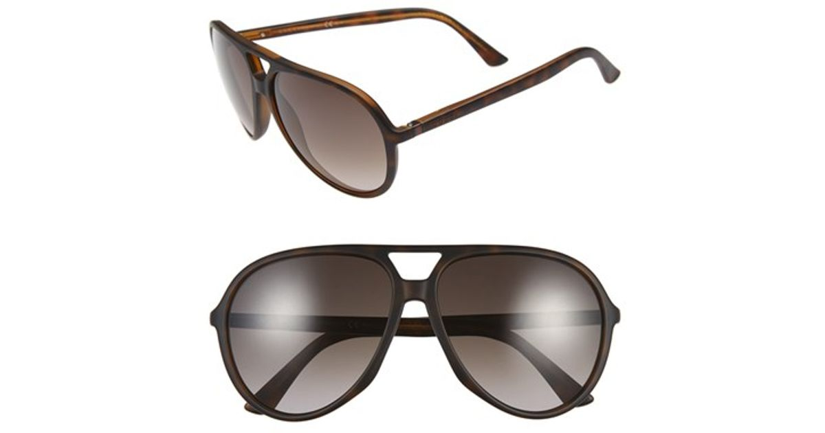 23a0c4266df Lyst - Gucci 61mm Aviator Sunglasses - Dark Havana  Brown Gradient in Brown  for Men