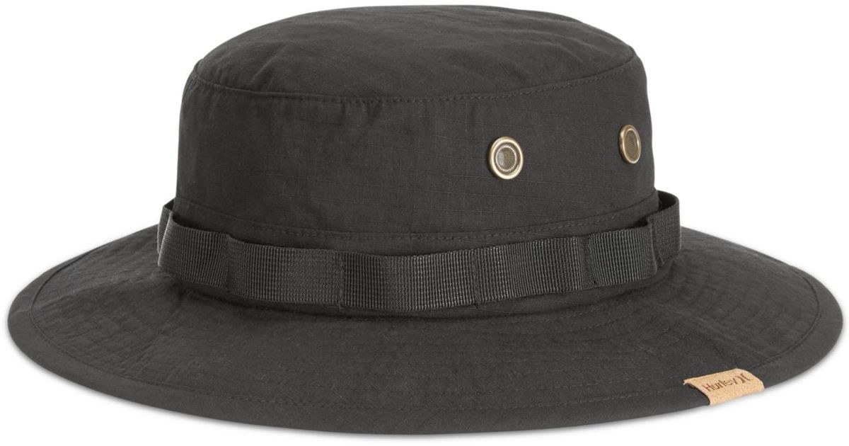 a63c840f95821 ... discount code for lyst hurley safari bucket hat in black for men 1beb7  ac08b