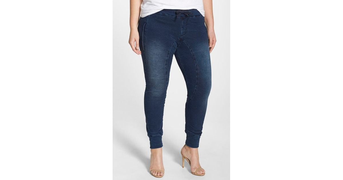 44dc86560db Lyst - Poetic Justice  jonjon  Stretch Knit Denim Jogger Pants in Blue