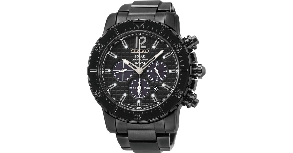 Seiko Men S Chronograph Solar Black Ion Finished Stainless Steel Bracelet Watch 45mm Ssc225 For Men Lyst