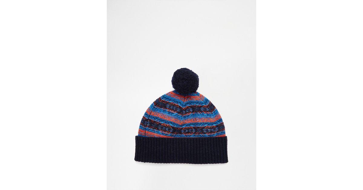 Lyst - Original penguin Fairisle Wool Bobble Hat in Blue for Men