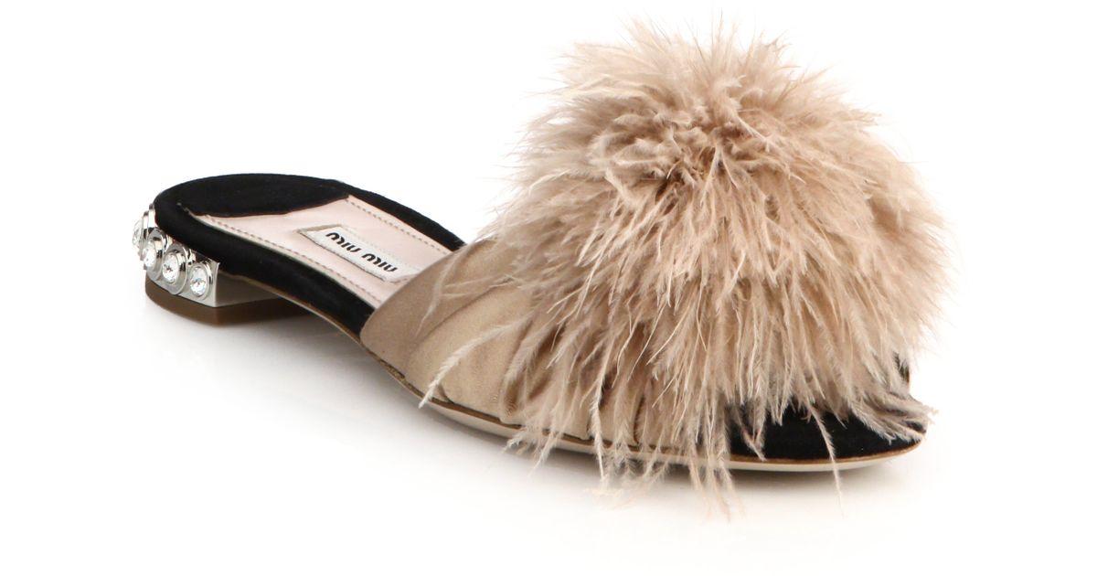 3f067cf99b Miu Miu Feather & Crystal-Embellished Suede Slide Sandals in Natural - Lyst