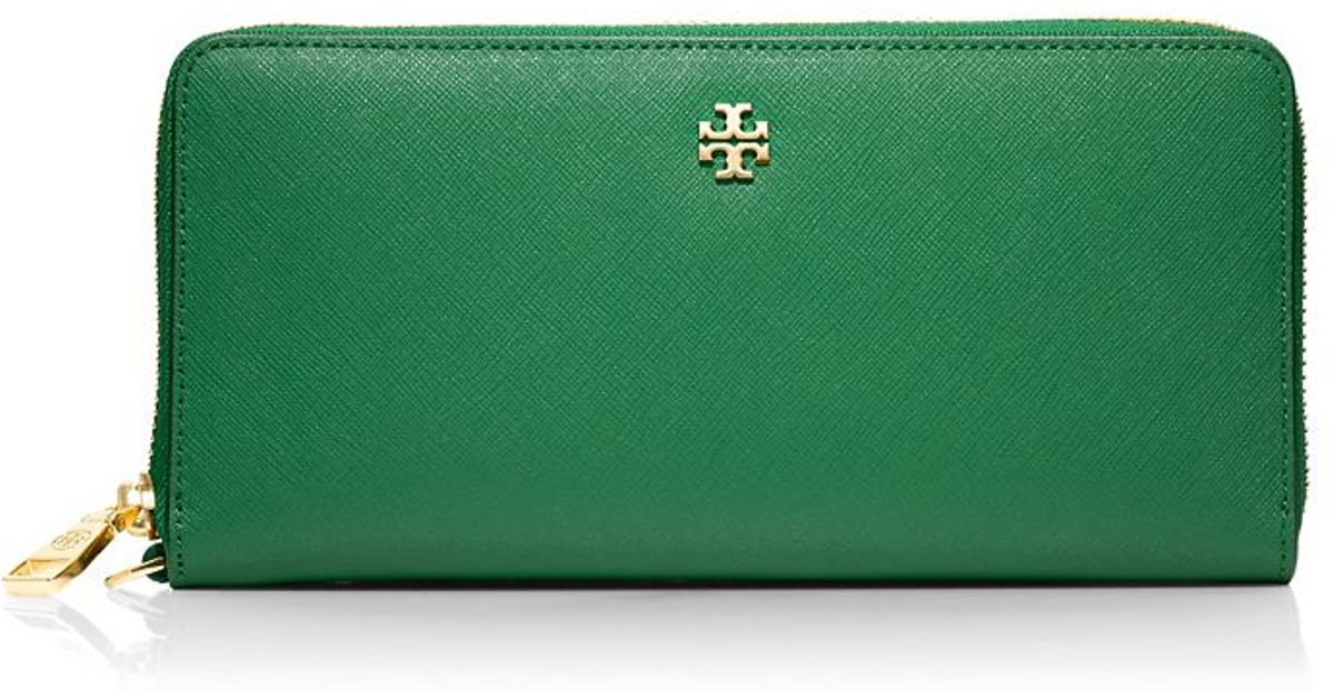 d33482eb8951 ... sale lyst tory burch york zip passport continental wallet in green  40297 9d6ec