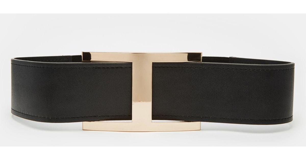 60db38f81d8 Lyst - ASOS Wide Waist Belt With Gold Bar Detail in Black