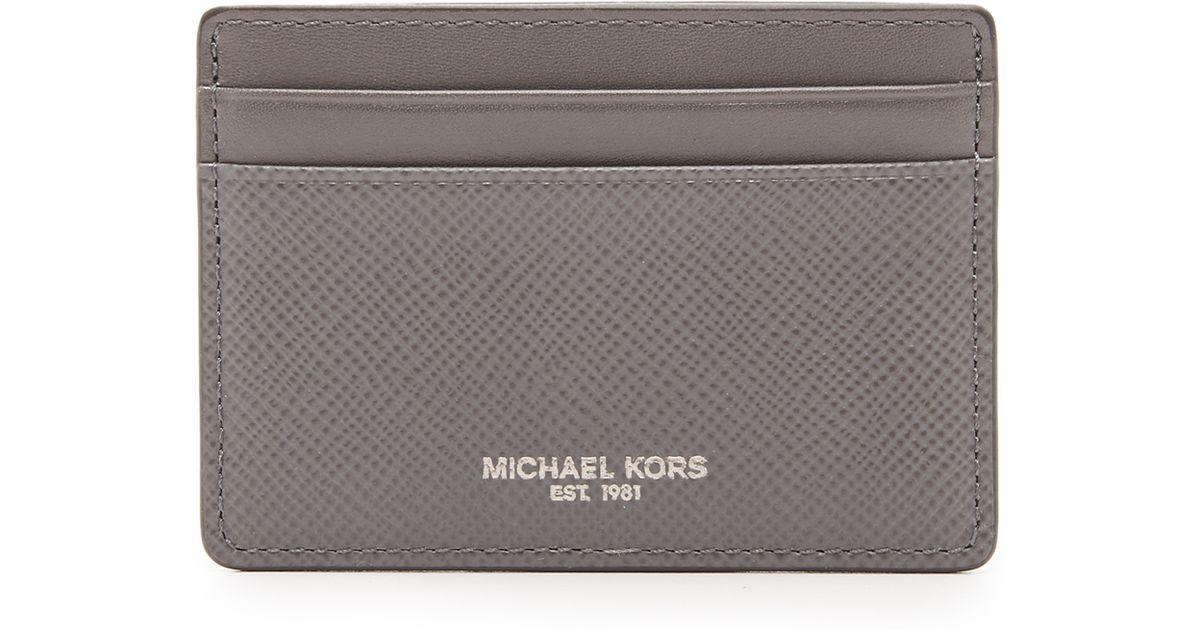 c899c05a1bfdb Lyst - Michael Kors Harrison Leather Card Case in Gray for Men