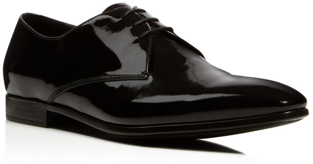 armani formal patent leather dress shoes in black for