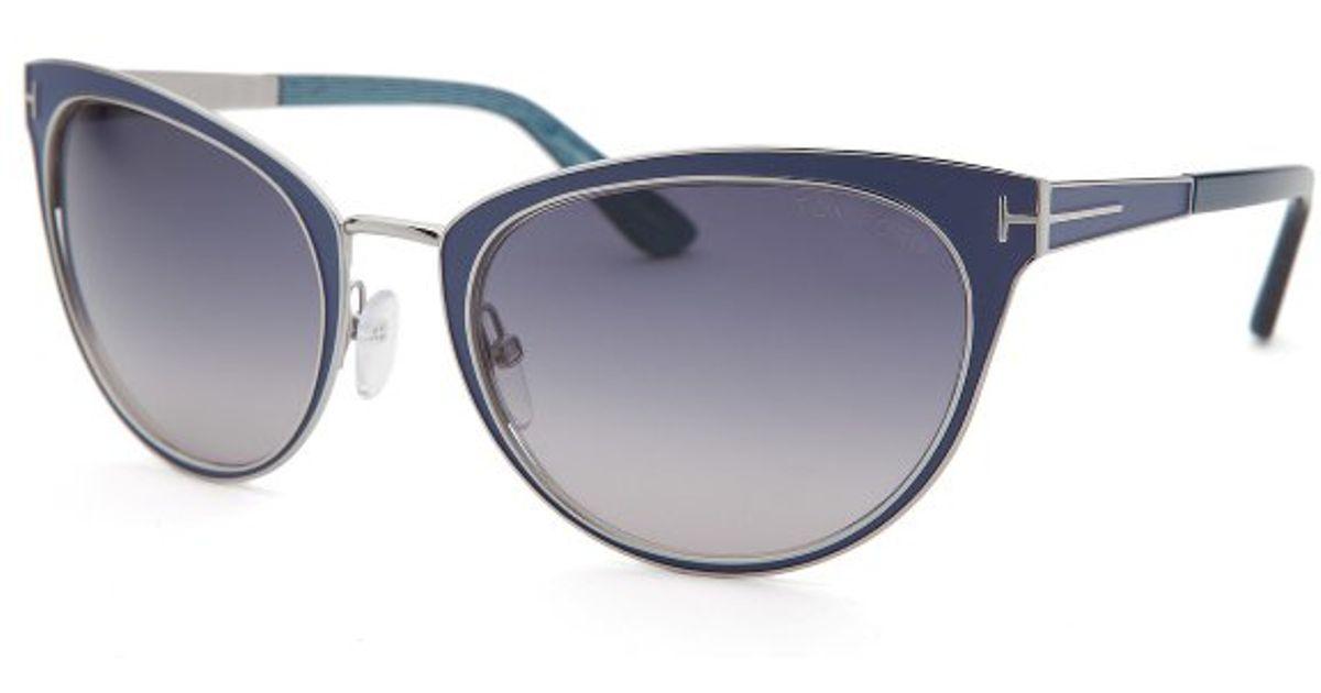 Tom ford Womens Nina Cat Eye Blue Sunglasses in Blue Lyst