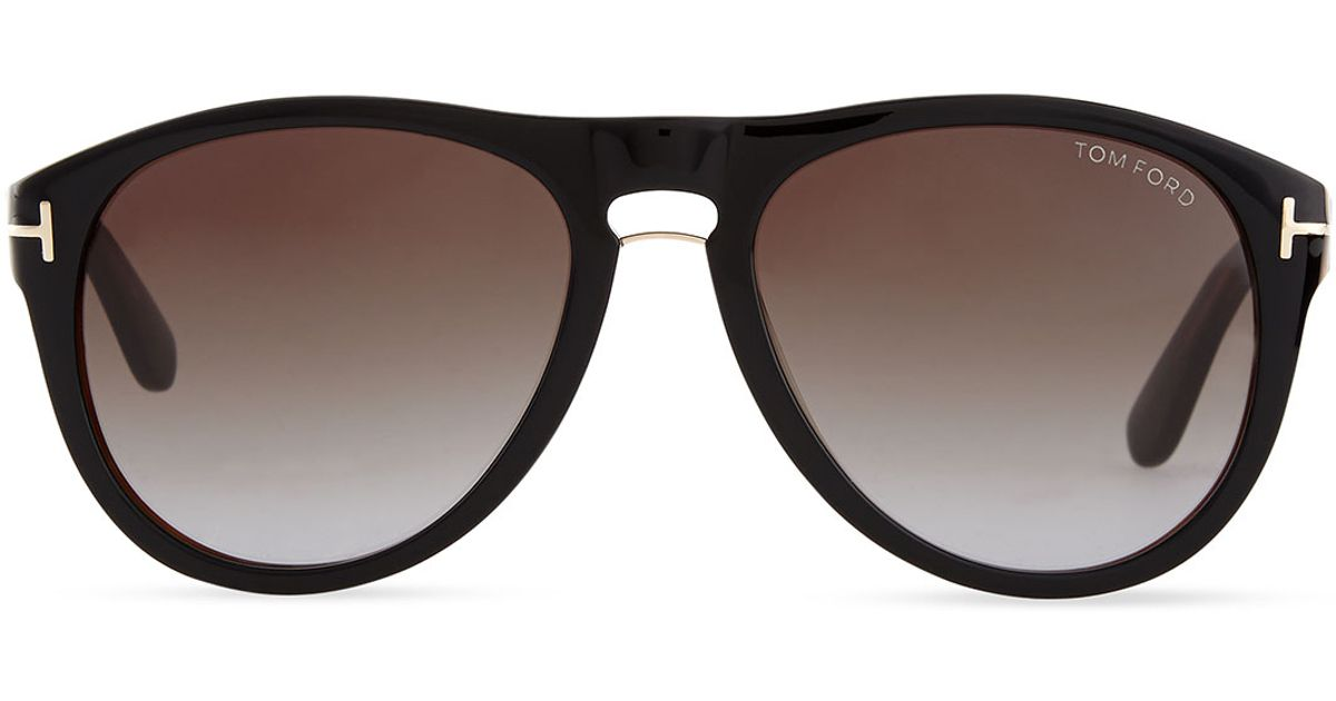 da341dd5fbef Lyst - Tom Ford Kurt Acetate Aviator Sunglasses in Black