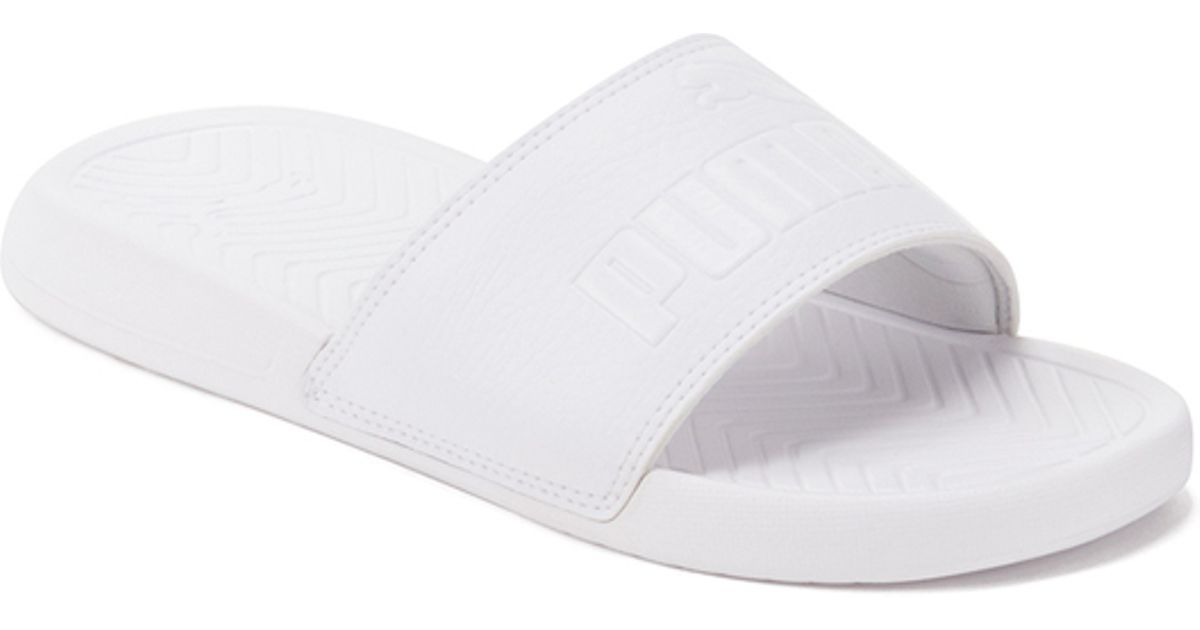 a6c2cb58fd8 PUMA Popcat Slide Sandals in White for Men - Lyst