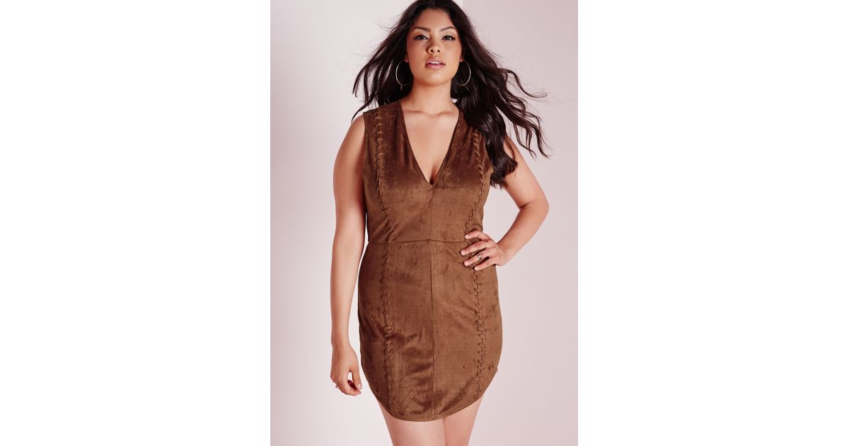 Lyst Missguided Plus Size Faux Suede Mini Dress Tan In Brown