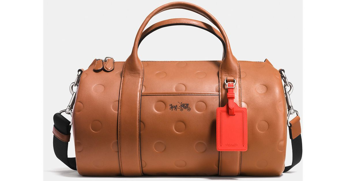 ... good lyst coach small barrel bag in saddle dot embossed leather in brown  d8d94 02f39 6220f5954f49e