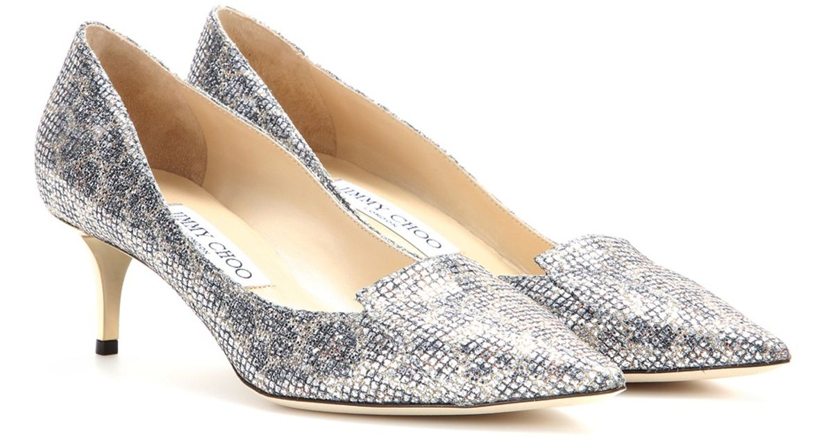 2fcceb42ceb Lyst - Jimmy Choo Allure Glitter Kitten-heel Pumps in Metallic