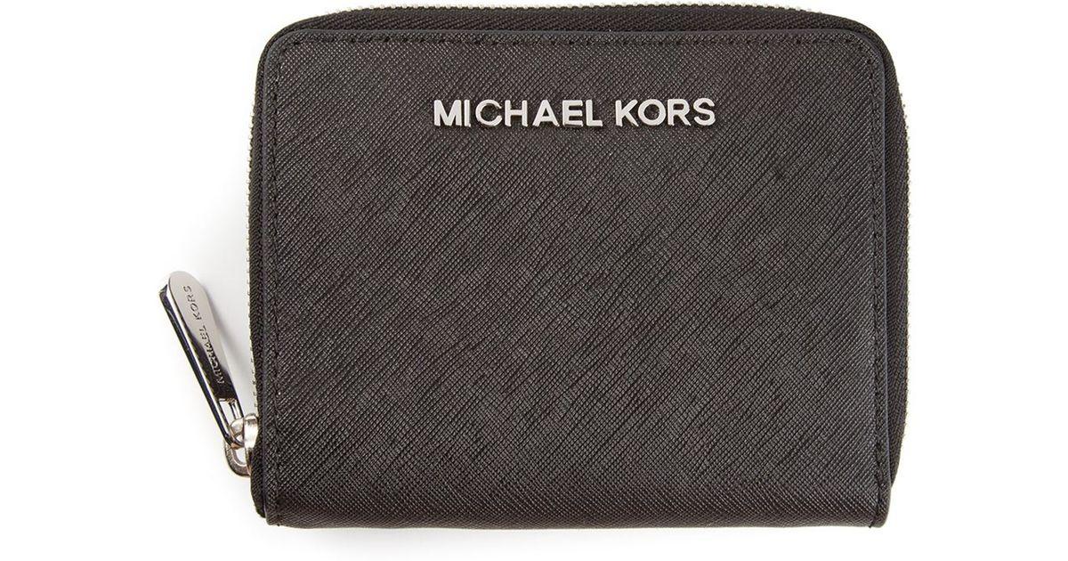 6236ce480125 MICHAEL Michael Kors 'Jet Set Travel' Medium Zip Around Wallet in Black -  Lyst