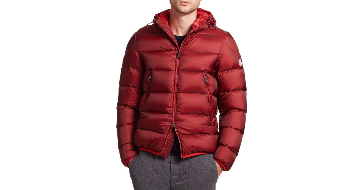 77016e04e Lyst - Moncler Chauvon Hooded Down Jacket in Red for Men