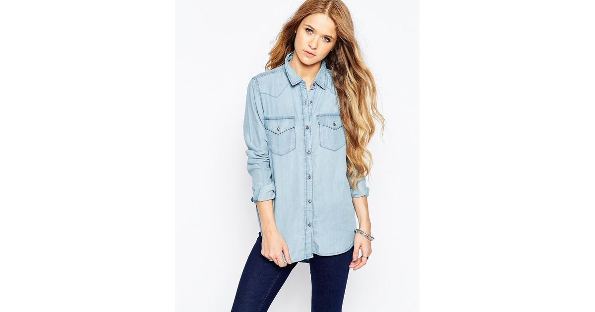 Only Nly Light Wash Denim Shirt In Blue Lightbluedenim