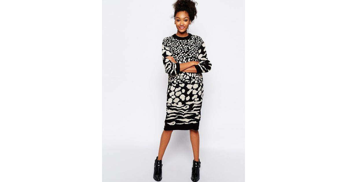 fe7d4603697c Monki Animal Print Jumper Dress in Black - Lyst
