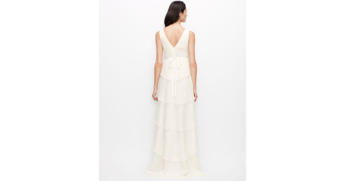 Ann Taylor Wedding Gowns: Ann Taylor Tiered Silk Georgette Wedding Dress In White
