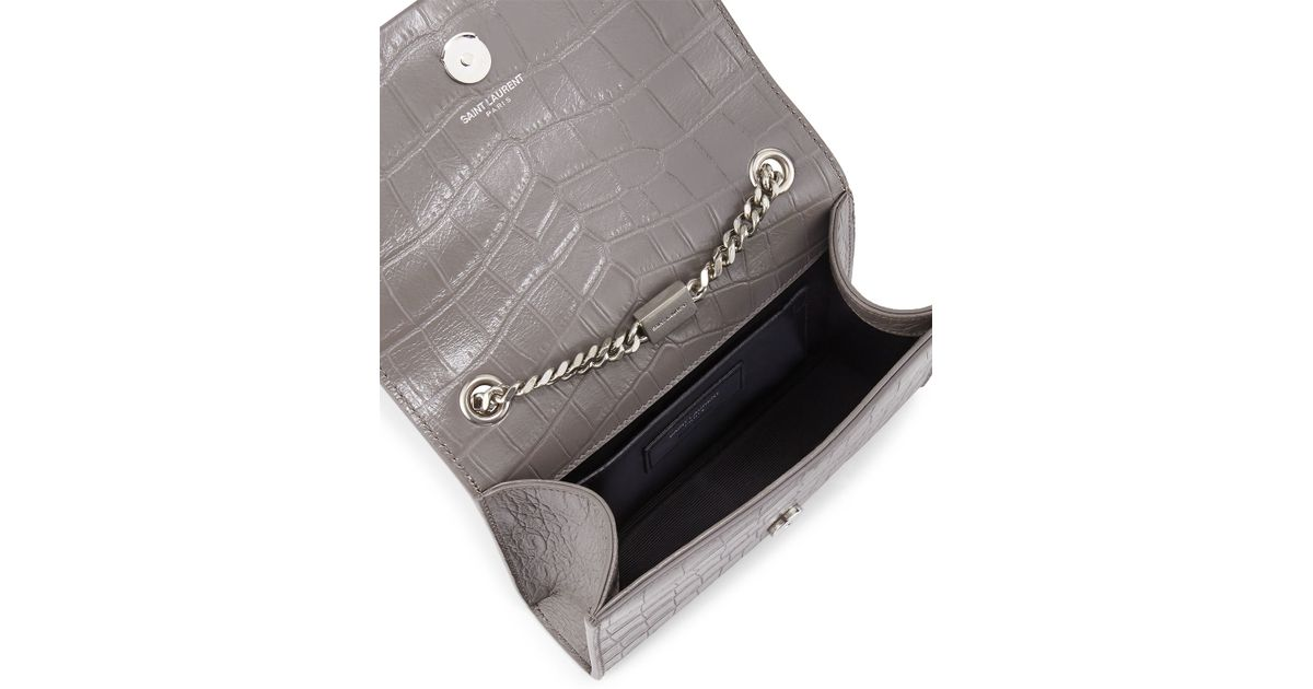 dffc51734406 Lyst - Saint Laurent Monogram Embossed-Leather Bag in Metallic