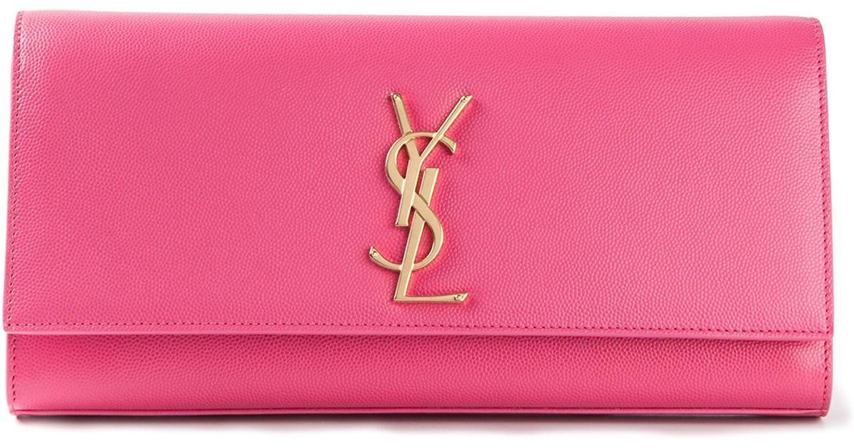 Saint laurent Ysl Clutch in Pink (pink \u0026amp; purple) | Lyst