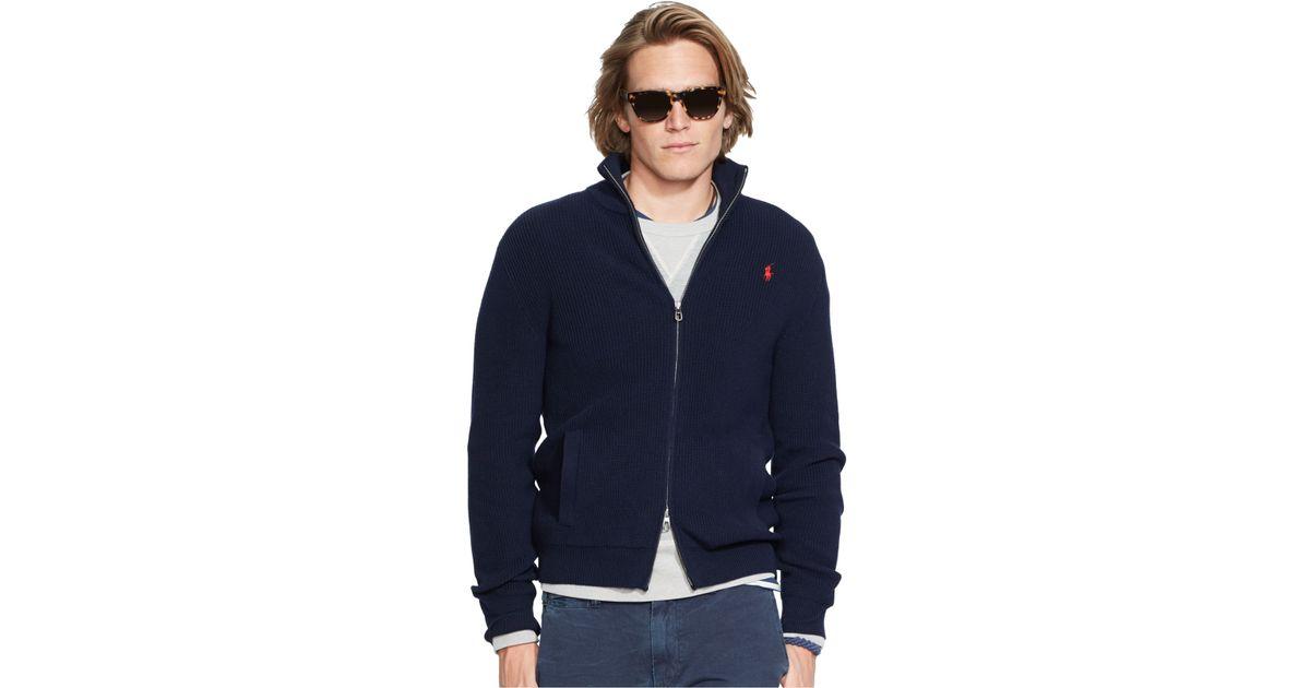3d4c27021e6 Polo Ralph Lauren Lightweight Full-zip Sweater in Blue for Men - Lyst