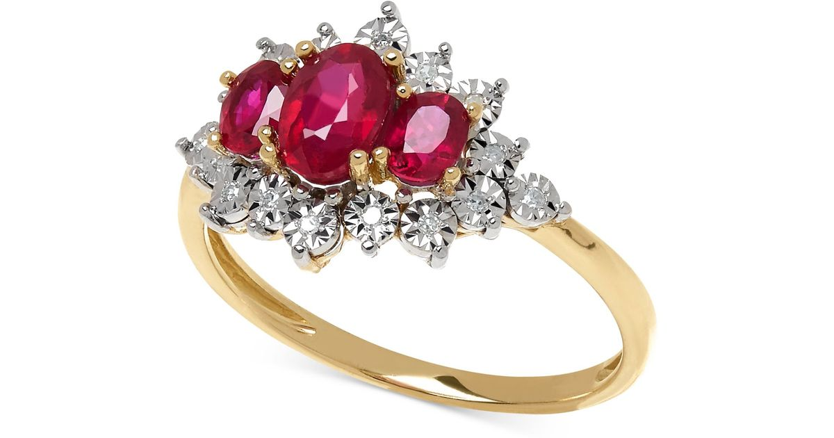 Macy s Ruby 1 1 5 Ct T w And Diamond Accent Ring In 10k Gold in Red