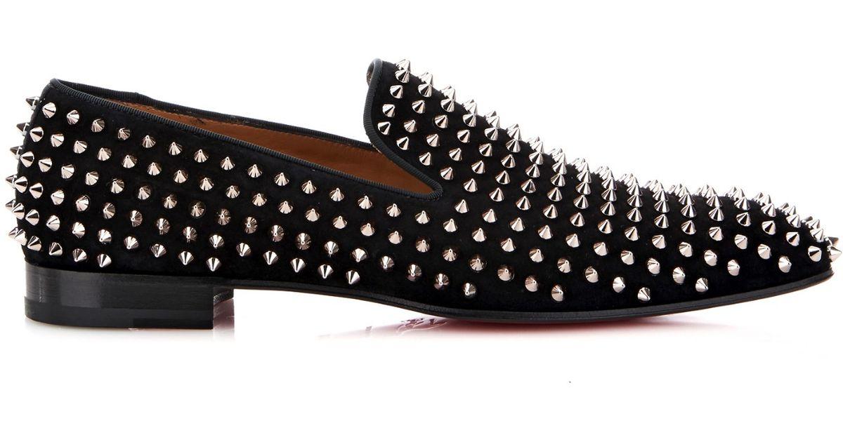 1fecf0391ce Lyst - Christian Louboutin Dandelion Studded Suede Loafers in Black for Men