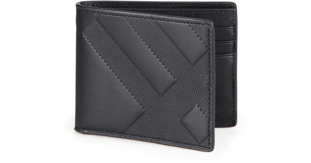 d866f4af5e93 Burberry Check-embossed Leather Hipfold Wallet in Black for Men - Lyst