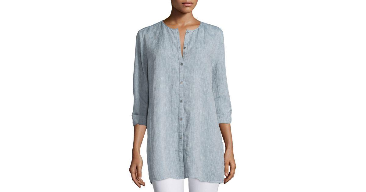 d6b80a76 Eileen Fisher Organic Linen Long Shirt in Blue - Lyst